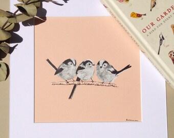 Long-tailed Tits, Bird Art, Original Ink