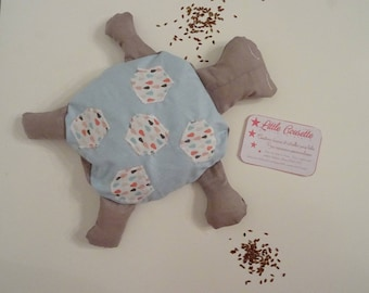 Heating pad made of removable turtle flaxseed in printed fabric 100% cotton blue and taupe drops