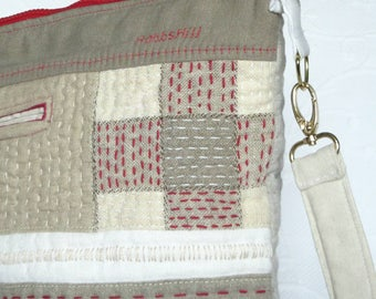 RESERVED **************                  Sashiko tote, Quilted Linen tote,  Sashiko Patchwork Quilt bag, Red Linen Tote, Quilted Tote bag