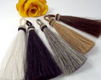 "Horse Hair Tassel, X-long/thick, long 5 1/2"" horse hair tassel real horsehair Western purses, horsehair tassel necklaces, all Natural colors"