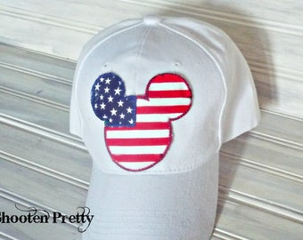 FREE SHIPPING American Flag Mickey Mouse baseball cap