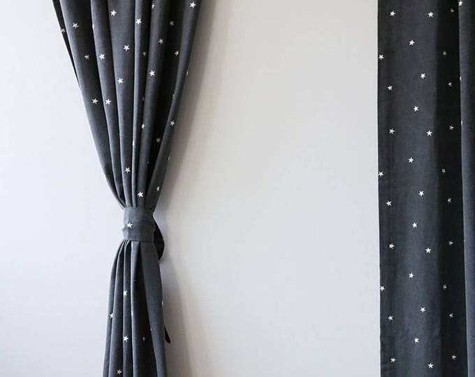 embroidered stars dark grey curtain kids curtain drapery panel