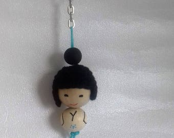 Keychain blue Kokeshi, mounted on a ring
