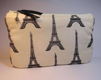 flat pouch unbleached cotton printed with black Eiffel Towers