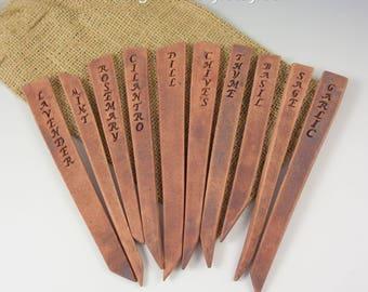 Ceramic HERB Garden Markers, Set of 10, Handmade, Includes Burlap Bag Gardener Gift, READY to SHIP