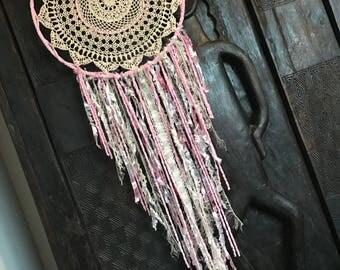 White and pink  toned crochet handmade dream catcherwith   dreamcatcher girks nursery