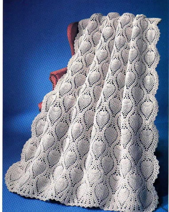 Vintage Crochet Pineapple Welcome Afghan Blanket Instant