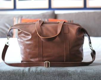 RAI - Brown weekender bag, leather handbag, leather hobo bag, overnight bag, leather duffel, leather bag women, handmade genuine leather bag