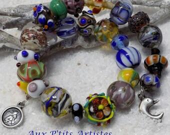 Bracelet 2 rows lampwork