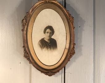 Antique 19th Century framed portrait photograph of lady in gilt gesso frame
