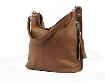 Brown LEATHER HOBO BAG, Brown Everyday Leather Shoulder Bag, Leather tassel