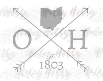 Ohio Silhouette file shirt DXF SVG cut file silhouette digital file