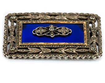Antique White metal Guilloche Enamel and Marcasite Rectangular Brooch