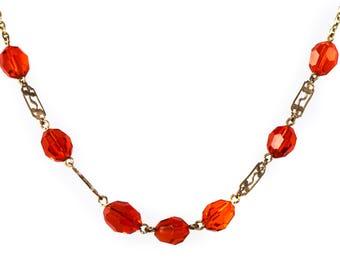 1930's Czech Flame Orange Glass Necklace