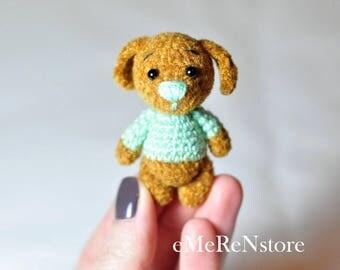 Super cute teddy doggie. miniature doggie. Blythe friend teddy doggie. miniature teddy doggie. crochet teddy dog. ooak teddy dog. best gift