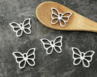 Openwork silver metal, 15 x 12 mm Butterfly charms