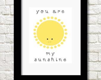 A4 you are my sunshine print children's wallart