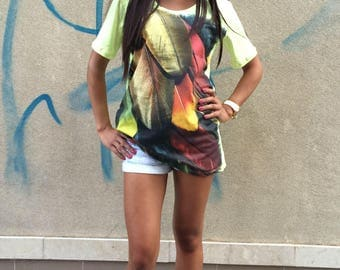 New Extravagant Print T-shirt, White Shirt with Feather Print, Loose Soft Cotton T-Shirt Top by SSDfashion