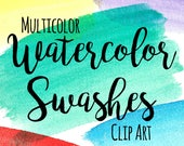 Watercolor Swashes Clip Art, Brush Stroke Clip Art, INSTANT DOWNLOAD, Rainbow Watercolor Brush Stroke, Paint Splash, Splotch, Scrapbooking