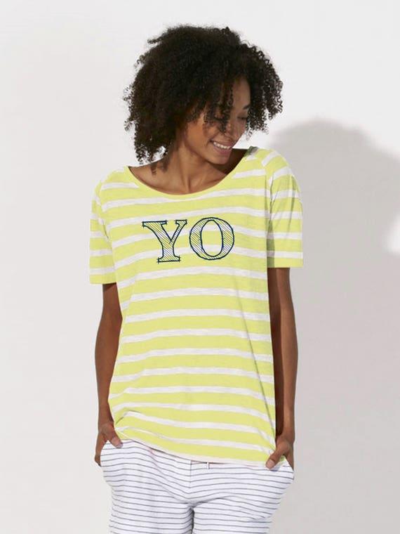 Round neck women STRIPED t-shirt YO