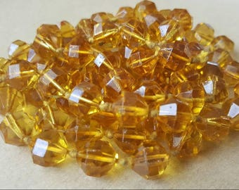 Vintage Flapper Necklace 1920s Art Deco Flapper Faceted Czech Bohemian Glass Amber Yellow Beads Necklace