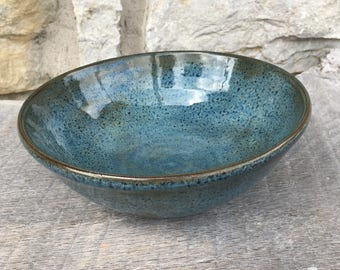 Pottery Bowl, handmade soup or cereal bowl with rutile blue glaze