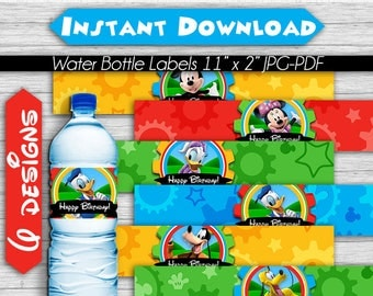 50% OFF SALE Mickey Mouse Clubhouse Water Bottle Labels, Instant Download, Pdf jpg