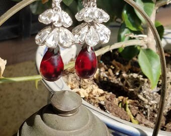 Elegant. Fit for Royalty. Hanging  red and crystal clip-on vintage earrings.
