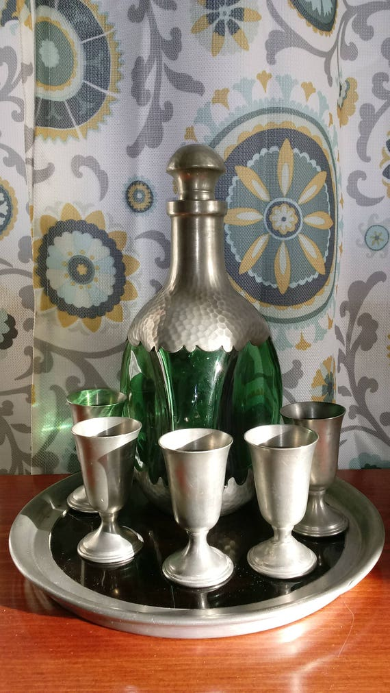 Daalderop Decanter With Tray and Pewter Cups