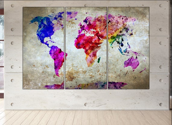 World map  canvas wall art print Large world map canvas wall art art World map print World map  Large canvas wall art world map Large