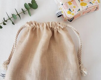 Set of 7 organic cotton and organic bamboo wipes and wipes bag/matching linen and cotton