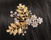 Gold bridal hair jewelry pin crystals leaves leafs crystal flowers woodland princess