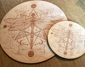 Crystal Grid - Dragonfly Flower of Life - 6, 9  or 12 Inches - Wooden Crystal Grid - Animal Spirit - Totem