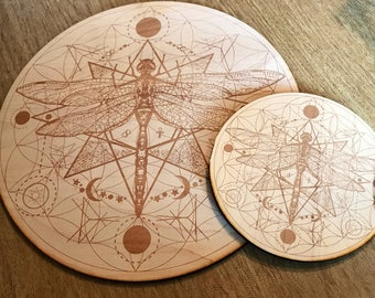 Crystal Grid - Dragonfly Flower of Life - 6 or 12 Inches - Birch Wood - Animal Spirit - Totem