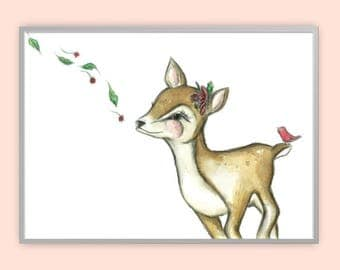 A3 Fawn Watercolour Print, Fawn Watercolor Nursery Print, Deer Nursery Print, Deer watercolour print, Deer Nursery Art, Fawn Watercolour Art