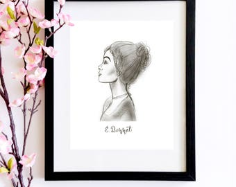 Elizabeth Bennet Sketch Portrait   A Bookworm Gift For Her That Loves Pride and Prejudice and Jane Austen