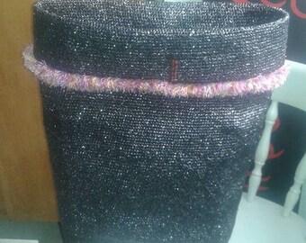 """BASKET """"Frou Frou"""", black, pink ruffled wool dominance"""