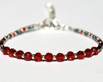 Red bracelet Beaded bracelet bohemian crystals bracelet Bohemian bracelet Statement bracelet Girlfriend Gift for her womens gift for women