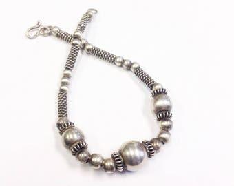 Vintage, Sterling silver, tribal look bracelet. Sterling silver bead bracelet.