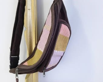 80's fanny pack, Brown canvas 80s fanny pack with woven details,