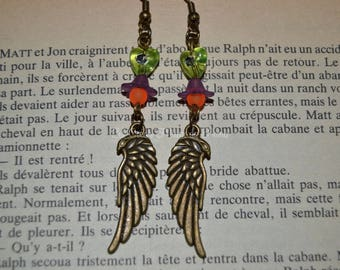 American bronze feather earrings