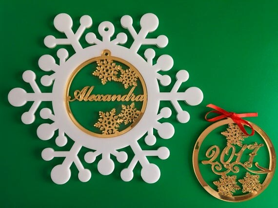 Personalised Christmas bauble Snowflake ornaments Memorial family gift Custom name ornament Xmas gift Babys first Christmas Tree ornaments