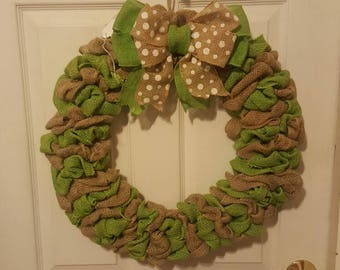 Green and natural burlap wreath