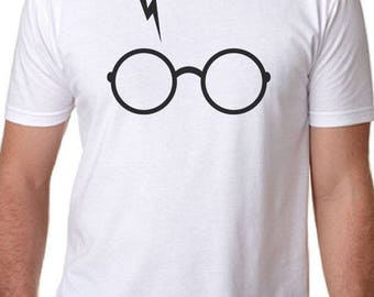 Men's Harry Potter Glasses and Scar Fitted T-Shirt