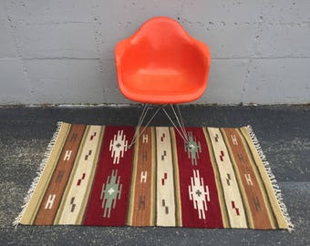 Native American Rug with Geometric Pattern in Cherry Red 3 x 5