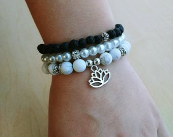 The Calm Stack Bracelets with Heart or Lotus charm - Howlite, lava stone and Czech glass pearl bead