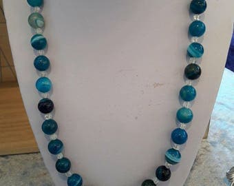 Blue with striped agate necklace