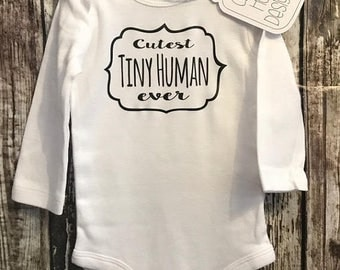 New Baby Gift, Tiny Human Onesie, Tiny Human Bodysuit, Announcement Onesie (long sleeve, short sleeve)[new mom gift, Shower Gift, baby gift]