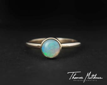 Handmade gold opal ring, 9ct gold opal ring - colourful stone - gold stacking ring