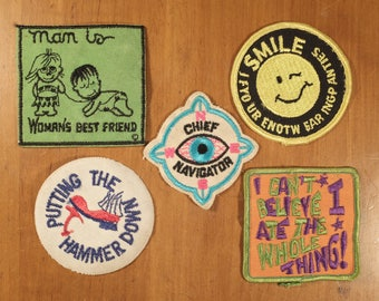 5 Vintage 70's Iron On Patches in great shape!!